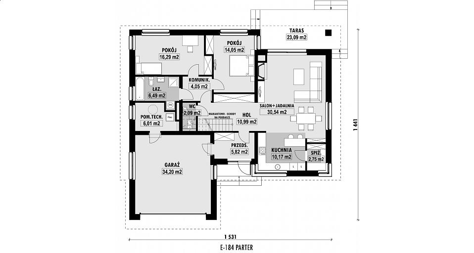 Projekt domu E-184 Dom parterowy dwuspadowy