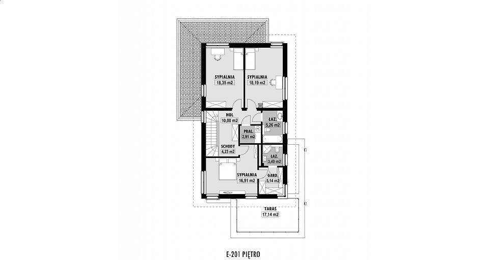 Projekt domu E-201 Piętrowy dom na wąską działkę