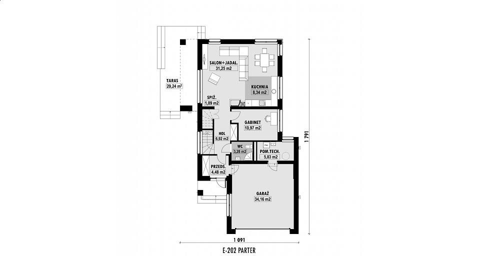 Projekt domu E-202 Z wjazdem od południa
