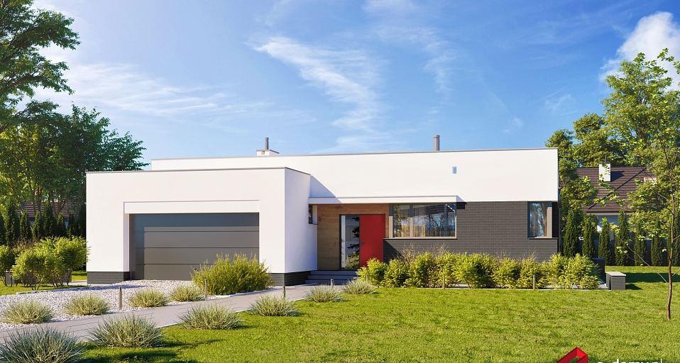 Projekt domu Dom parterowy z dużym garażem E-144