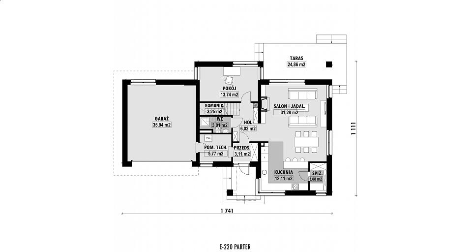 Projekt domu E-220 Rezydencja z pokojem seniora