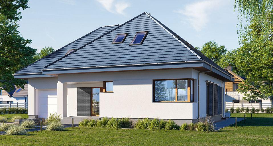 Projekt domu Dom z poddaszem i gabinetem E-212
