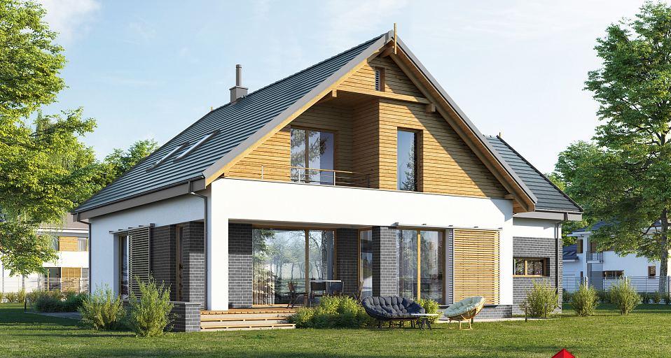 Projekt domu Kompaktowy dom dwuspadowy E-216