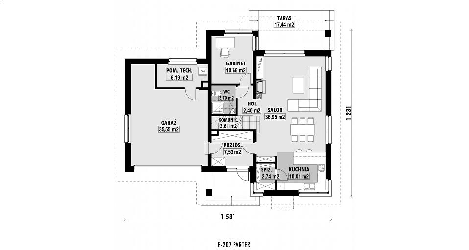 Projekt domu E-207 Projekt domu z poddaszem