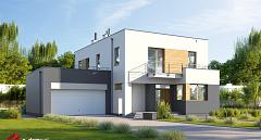 Projekt domu E-206 Dom z gabinetem od frontu