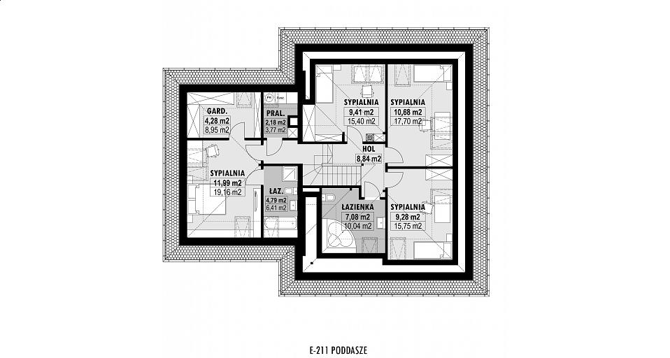 Projekt domu E-211 Dom z poddaszem i 5 sypialniami