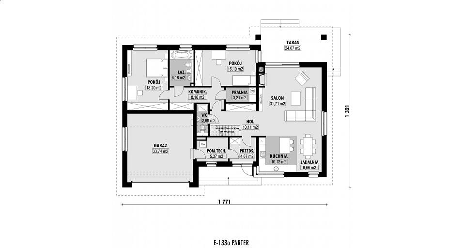 Projekt domu E-133a Dom parterowy z 2 sypialniami
