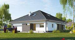 Projekt domu E-231 Parterowy dom o zwartej bryle