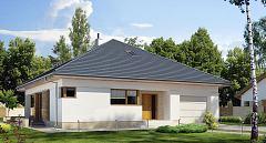 Projekt domu E-227 Zwarty dom parterowy