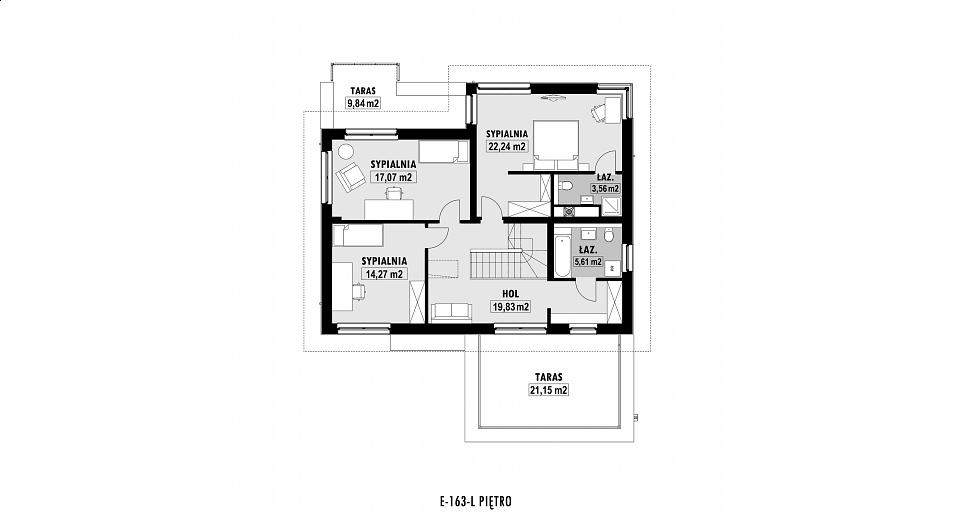 Projekt domu E-163 Mała rezydencja na wąska działkę
