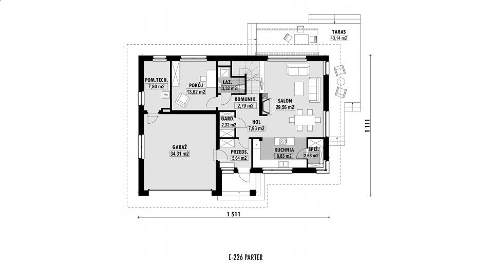 Projekt domu E-226 Dom z 4 sypialniami i gabinetem