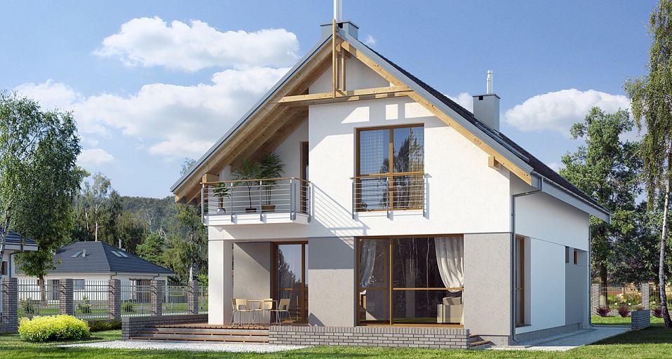Projekt domu Mały dom na wąską działkę E-107