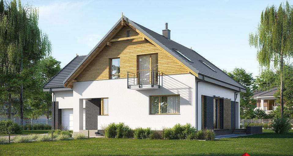 Projekt domu Dom ze strychem nad garażem E-236