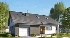 Projekt domu E-243 Dom z prostym dachem dwuspadowym