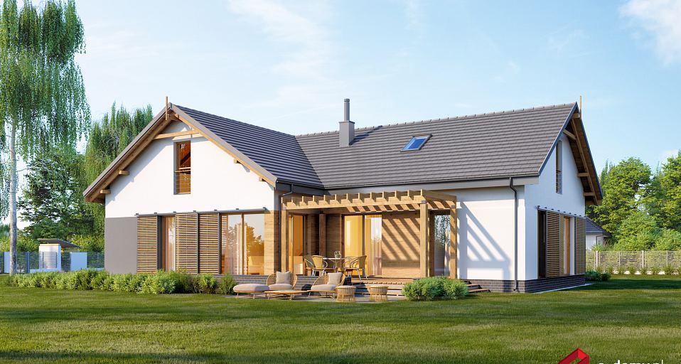 Projekt domu Parterowy dom z dwuspadowym dachem E-249