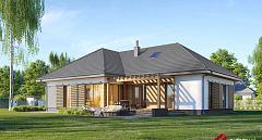Projekt domu E-251 Dom parterowy z bocznym tarasem