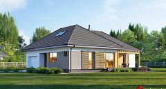 Projekt domu E-250 Dom parterowy z tarasem z boku