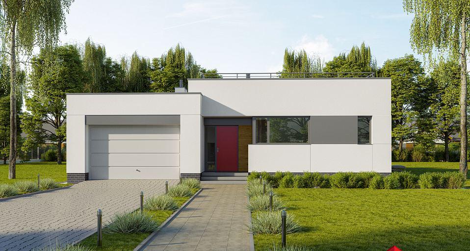 Projekt domu Nowoczesny dom z pojedynczym garażem E-252