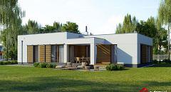 Projekt domu E-252 Nowoczesny dom z pojedynczym garażem