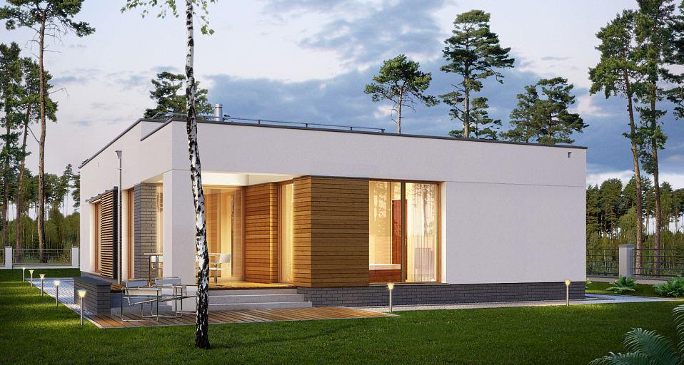 Projekt domu E-182a Dom z płaskim dachem i 3 sypialniami
