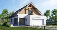 Projekt domu E-203a Dom dwuspadowy na wąskie działki