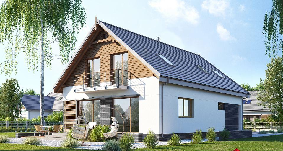 Projekt domu Dom dwuspadowy na wąskie działki E-203a