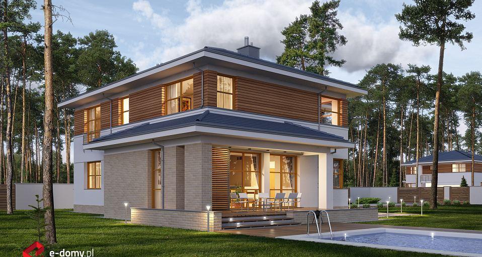 Projekt domu E-166a Dom piętrowy z bocznym tarasem