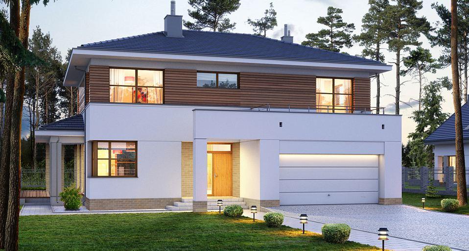 Projekt domu Dom piętrowy z bocznym tarasem E-166a