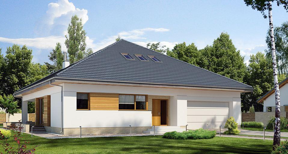 Projekt domu E-179a Dom parterowy o symetrycznym dachu