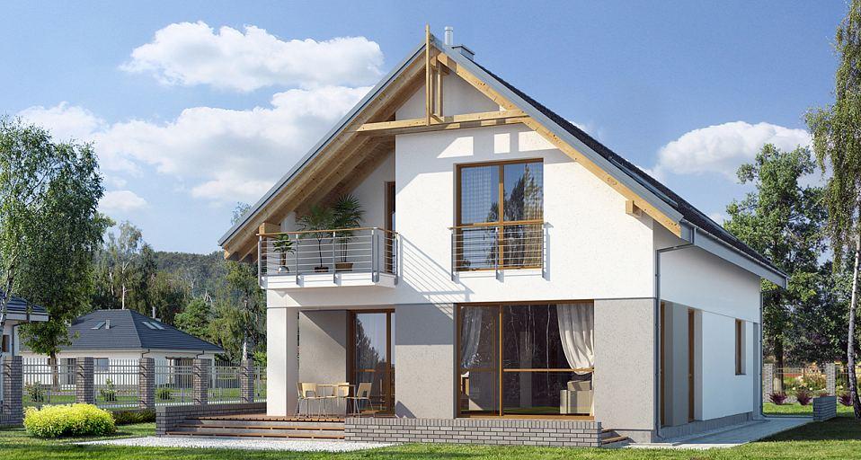 Projekt domu Dom z gabinetem na wąskie działki E-107a