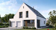 Projekt domu E-259 Dom nowoczesny z podwójnym garażem
