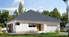 Projekt domu E-264a Parterowy dom z rozbudowaną sypialnią