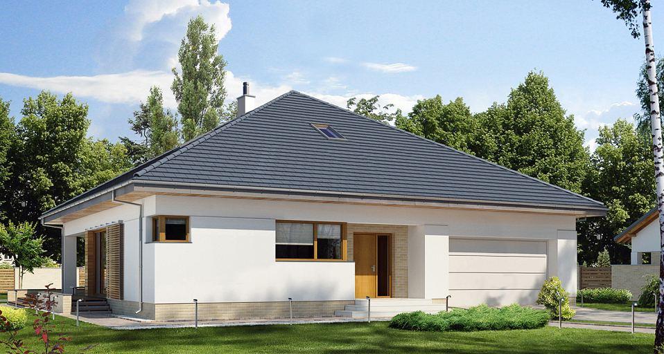 Projekt domu Parterowy dom z rozbudowaną sypialnią E-264a