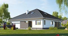 Projekt domu E-262 Komfortowy dom parterowy z gabinetem