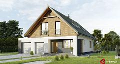Projekt domu E-260 Dom typu stodoła z dwoma garażami